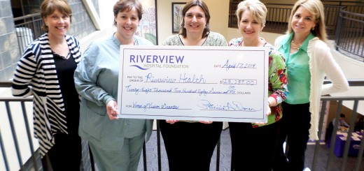 From left: Trish Oman, Riverview Health Foundation executive director; Amy Gardner, maternity department manager; Tracie Toomey, medical practice office manager; Cindy Moore, rehab and fitness manager; and Terri McCall, Riverview Health Women's Boutique manager; were part of the Women of Vision Giving Club grants check presentation. (Submitted photo)