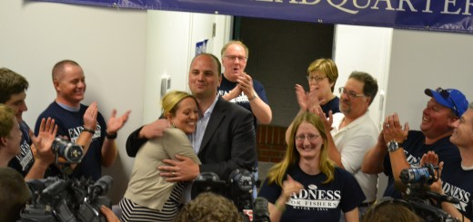 Fishers Town Manager Scott Fadness and his wife Aunna celebrate as the an- nouncement of his primary win is made. (Photo by John Cinnamon)
