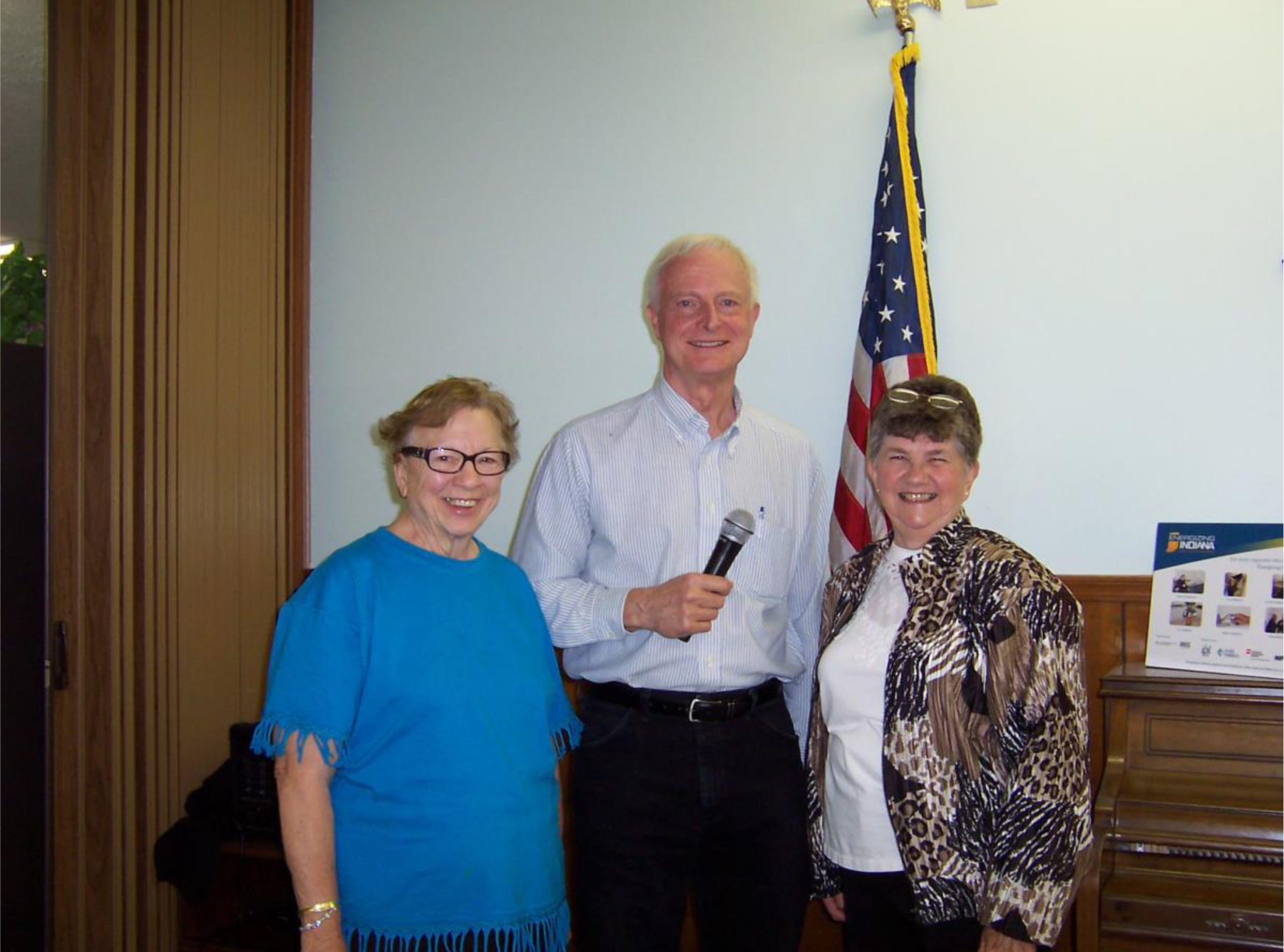 Dr. Charles Harris of Cicero was the guest speaker at the Noblesville Senior Citizen Organization on May 15. Harris discussed his tours known as Chuck's Wagon Wheels. From left: Norma Ross, active member of Senior Citizen group, Dr. Charles Harris and Sheila Raines, owner of Sheila's Country Kitchen, a new catering business run out of the Wesleyan Church in Cicero. (Photo provided by Senior Citizen Organization)