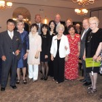 Members of the Sister City Committees posed for a group portrait. Front row from left, Joyce Wozniak, Tamotsu Iisaka, Kay Scott, Harumi Goto, Masumi