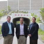 Old Town Design Group partners, from left, Justin Moffett, Andrew Greenwood and Jeff Langston said they plan to preserve much of the wooded area along the Monon Trail when they redevelop the former Sunrise Golf Course. (Staff photo by Jessica Goldy)
