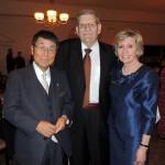 From left, Tomatsu Iisaka, Vice Presdent of the Kawachinagano International Friendship Association, with Charlie and Kay Scott of Carmel. (Staff photo by Tonya Burton)