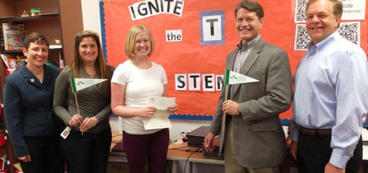 Boone Meadow STEM/Literacy Coach Rebekah Clay Graham (center) stands with Grant Committee member Theresa Meyer, Boone Meadow Principal Kris Cavolick, ZEF Board Treasurer Gary Coval, and ZEF Board President Bob Spoonmore. More than $29,000 was given in teacher grants this spring.