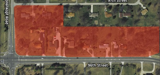 Area in red is subject of rezoning request.