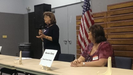 County Clerk candidates, from left, Tammy Baitz and Rhonda Gary discussed there vision for managing the clerk's office. (Staff photo)