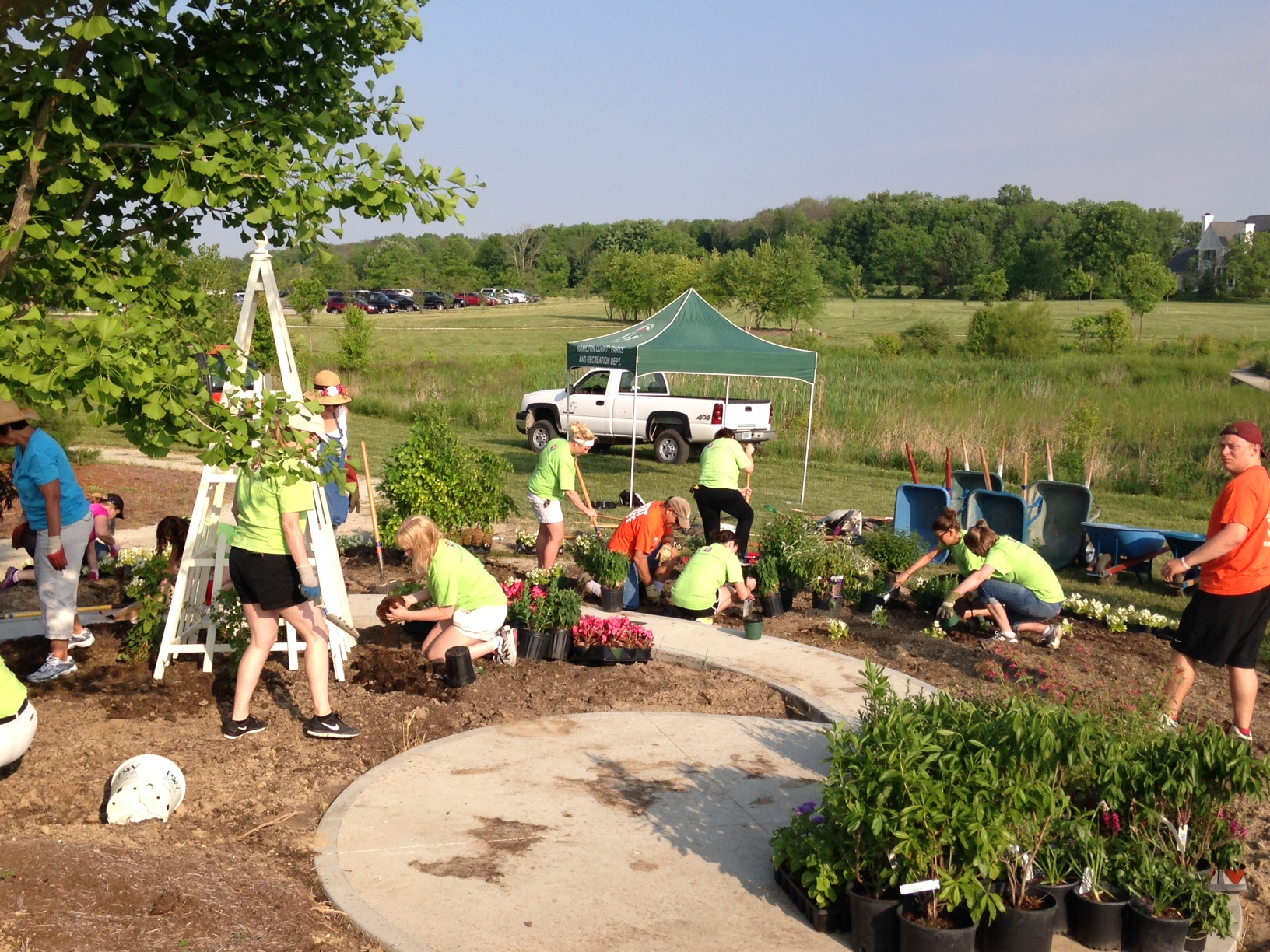 IU Health associates join with Hamilton County Master Gardeners to plant the 26-bed ABC Children's Garden at Coxhall Gardens. (Submitted photo)