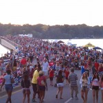 Pedestrians flood Fall Creek Rd. Bridge over Geist Reservior during the annual Blast on the Bridge celebration.