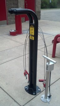 There are now three free bike repair stations on the Monon Trail in Carmel. (Staff photo)