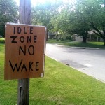 Neighbors in the flood zone have posted a sign that has a message commonly found in harbors. (Staff photo)