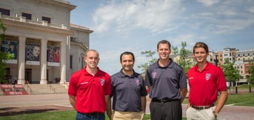 From left, Indy Eleven defeneder Chris Estridge, owner Ersal Ozdemir, coach Jurgen Sommer and goalie Nathan Sprenkel. (Photo by Sara Crawford)