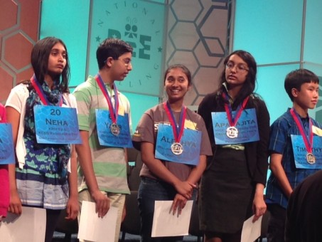 Carmel Middle School eighth-grader Alekhya Ankaraju, center, advanced to the semifinal round of the National Spelling Bee. (Submitted photo)