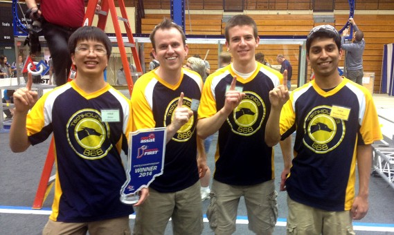 TechHOUNDS from left, Josh Chang, coach George Giltner, Evan Chivington and Aryaman Gupta contributed to the Carmel High School robotics team's second consecutive state title. (Submitted photo)
