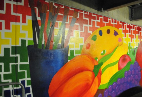 The Carmel Mayor's Youth Council is responsible for the mural in the Indiana Design Center parking garage. (Staff photo by Joseph Knoop)