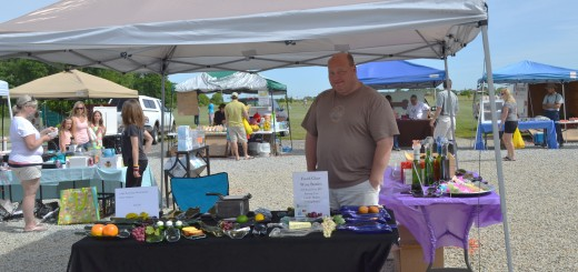 Brad Bickel, owner of Bugoutscreens, sells his product at the Saxony Farmer's Market. (Photo by Ann Craig-Cinnamon)