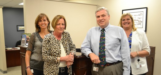 Fishers Chamber of Commerce staff in their new offices. (From left) Cheryl Robinson, member services; Carol Doehrman, VP of Operations; Dan Canan, President/CEO; Cindy Stout, member development.