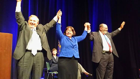The Indiana Democratic Party recently selected its candidates for the three statewide offices in November's election. From left, Mike Boland, State Treasurer candidate; Beth White, Secretary of State candidate; Mike Claytor, Auditor of State candidate. (Submitted photo)