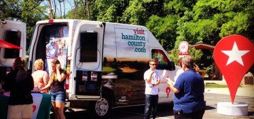 """Pinny,"" the new Hamilton County Tourism mobile van, visits the Monon Trail (submitted photo)"