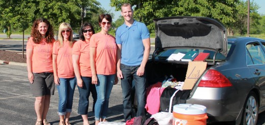 Members of Food4Souls in Fishers gather on a recent Sunday morning to deliver supplies to the homeless in Indianapolis. From left: Andrea Stow, Stefanie Jeffers, Natalie Donohoe-Hart, Dawn Adams and Kevin Silwa. (Photo by Jessica Goldy).