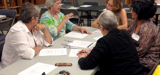 Residents discuss improvements for Westfield with Peggy Monson, center, and Veronica Charles, right, of the Cultural Collaborative. (Photo by Navar Watson)