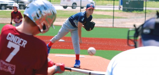 Westfield Youth Sports pitcher Bren- nan Des Jardins and his fellow Indians teammates (fifth and sixth grade) are playing their inaugural season at Grand Park. (Photo by Robert Herrington)