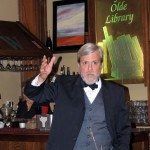 Historical figure re-enactor Jeffrey Smith interprets Andrew Carnegie at the 100th anniversary celebration of the Carnegie Library June 9 at Woody's Library Restaurant. (Staff photo by Tonya Burton)
