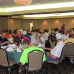 Golfers gathered at the clubhouse for dinner, prizes and awards