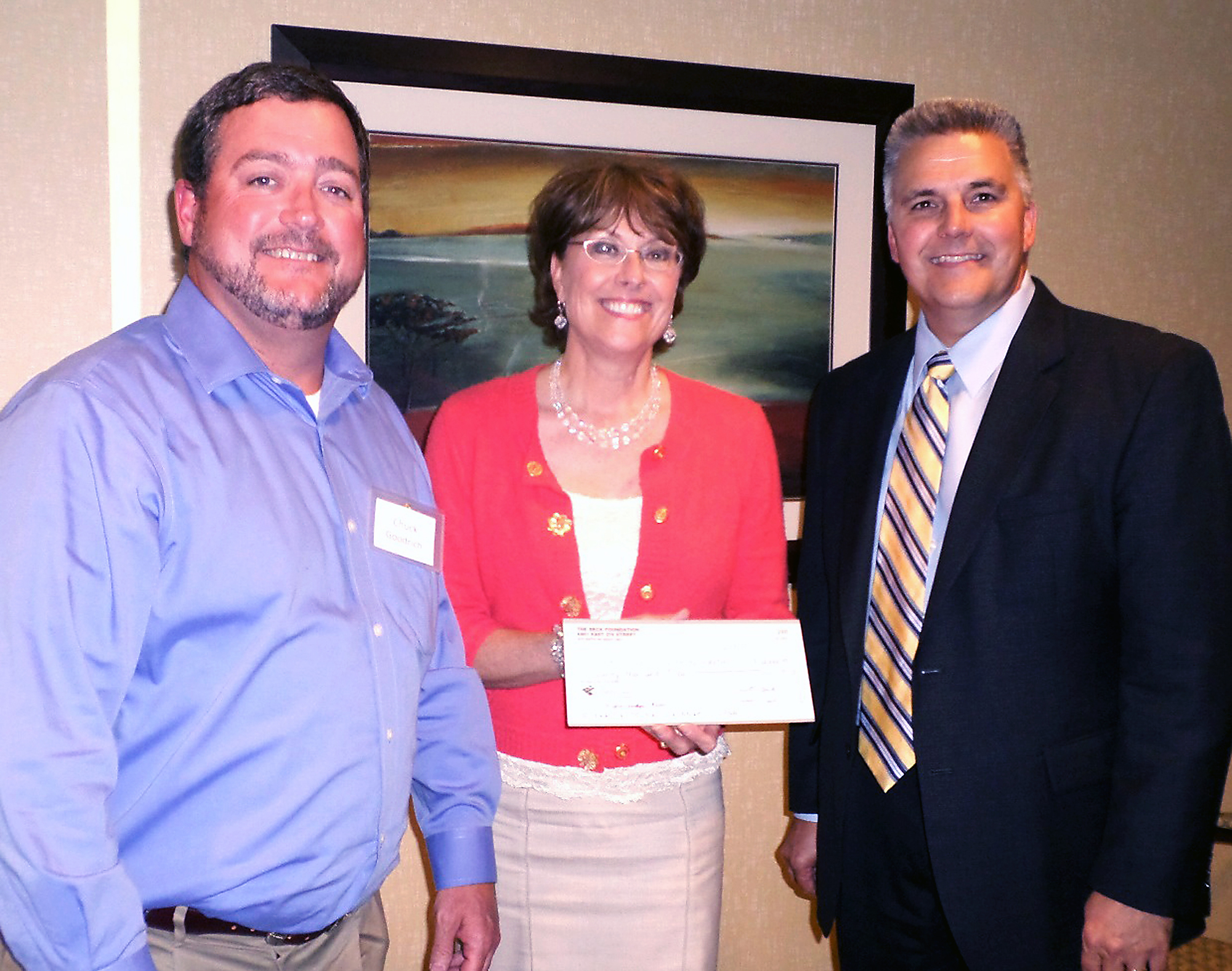 From left: Chuck Goodrich, Riverview Health Foundation board of directors chairman; Trish Oman, Riverview Health Foundation executive director; and Bruce Kettler, Beck's Hybrids director of public relations. The Beck Foundation presented a check for $20,000 to assist with the purchase of a new large-bore MRI. (Submitted photo)
