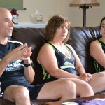 (left) Ron and Ann Eich and their daughter Melanie talk about Circle City Derby Girls at their home in Fishers.