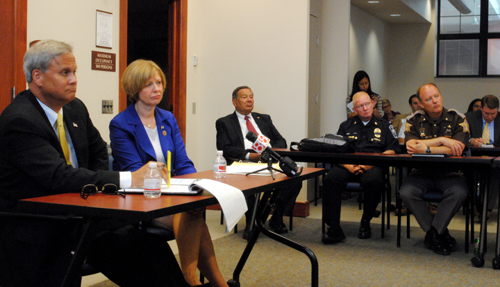 From left: State Sen. Jim Merritt, U.S. Rep. Susan Brooks (R-Ind.), Noblesville Mayor John Ditslear, Fishers Police Chief George Kehl and Hamilton County Sheriff Mark Bowen discuss the county's heroin issue at Noblesville's City Hall. (Staff photo)