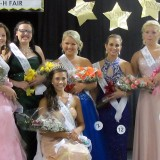 From left: The 2014 Hamilton County 4-H Fair Queen's Court members are Kendall Gatewood, Kara Moody, Rachel Flanders, Victoria Comin, Alyssa Wilmot (Miss Congeniality), and Queen Erica Danielle Freeman (seated).