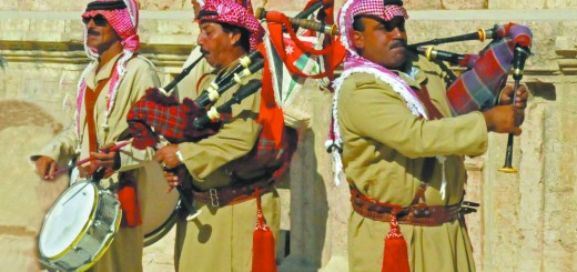 Jordanian bagpipers at Jerash's Southern Theater (Photo by Don Knebel)