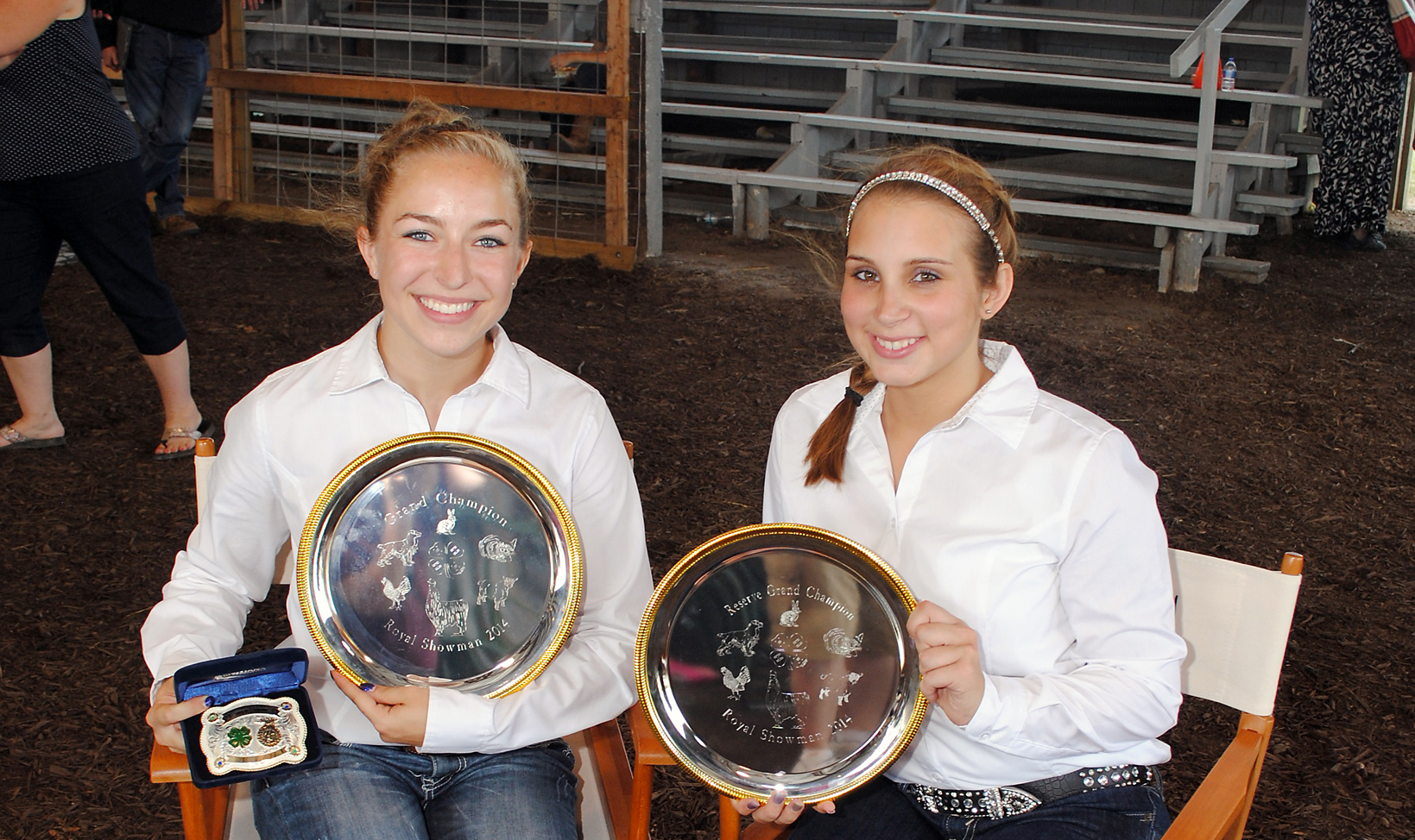 From left: Hannah Allaben of Fishers and Victoria Comin of Noblesville won champion and reserve champion respectively in the annual Royal Showmanship contest on July 21. (Photo by Robert Herrington)