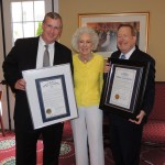 Two mayors honored Lorene Burkhart on her 80th birthday. From left, Indianapolis Mayor Greg Ballard, Lorene Burkhart and Carmel Mayor Jim Brainard. (Staff photo by Tonya Burton)