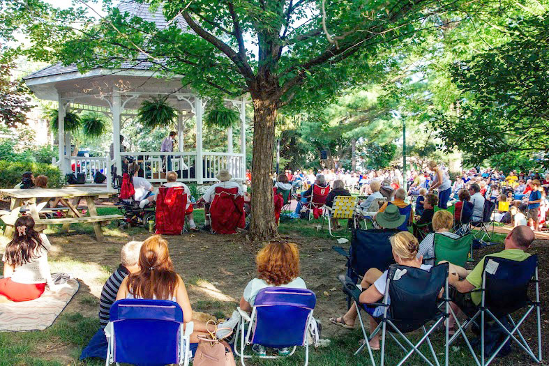 The Wade Baker Jazz Trio performs in front of a live audience in downtown Zionsville's Lincoln Park on July 2.