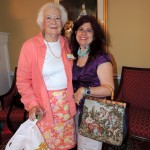 Peggy Sabens, organizer of Lorene's birthday celebration, is joined by Pamela Konchinsky. (Staff photo by Tonya Burton)