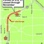 A map of U.S. 31 shows where road closures will be this month. (File Illustration)