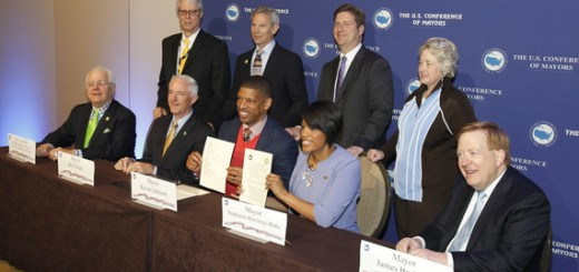 Mayor Jim Brainard (right) sits with the special task force for climate change. (Photo courtesy of the Associated Press)