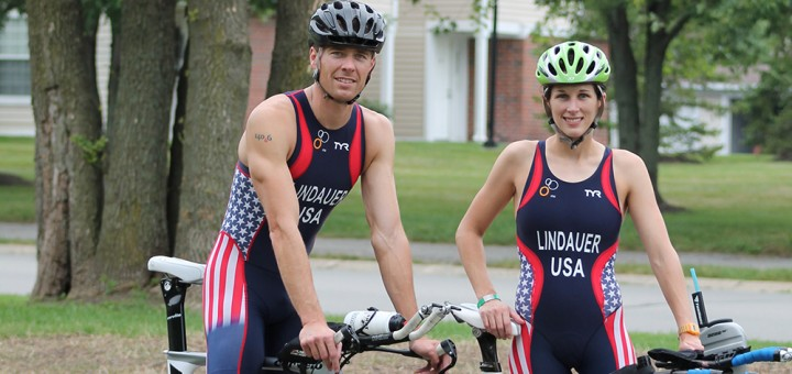 Ellie and Jeremy Lindauer will be competing for Team USA at the International Triathlon Sept. 1st in Edmonton, Alberta, Canada. (Photo by Jessica Goldy)