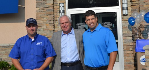 Craig Culver, (center) founder and CEO of Culvers with Neil Miller (left) and Jeff Meyer, co-owners of the new location on Olio Road in Fishers. (Photo by Ann Craig-Cinnamon)