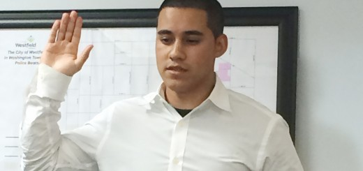 Officer Elias Rebollar was sworn into the Westfield Police Dept. on July 23. (Submitted photo)
