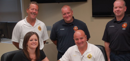 Indiana District Five Incident Management Team members, Back row L-R Deputy Chief Robin Nicoson, FF Mark Carman, Captain Jamie Burrows,Front row L-R Ann Smith, Chief Steven Orusa. (Submitted photo)