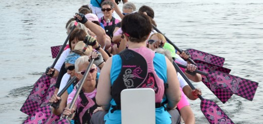 Members of Indy SurviveOars row out from the Geist Marina where they practice three times per week from April through October. (Photo by Ann Craig-Cinnamon)