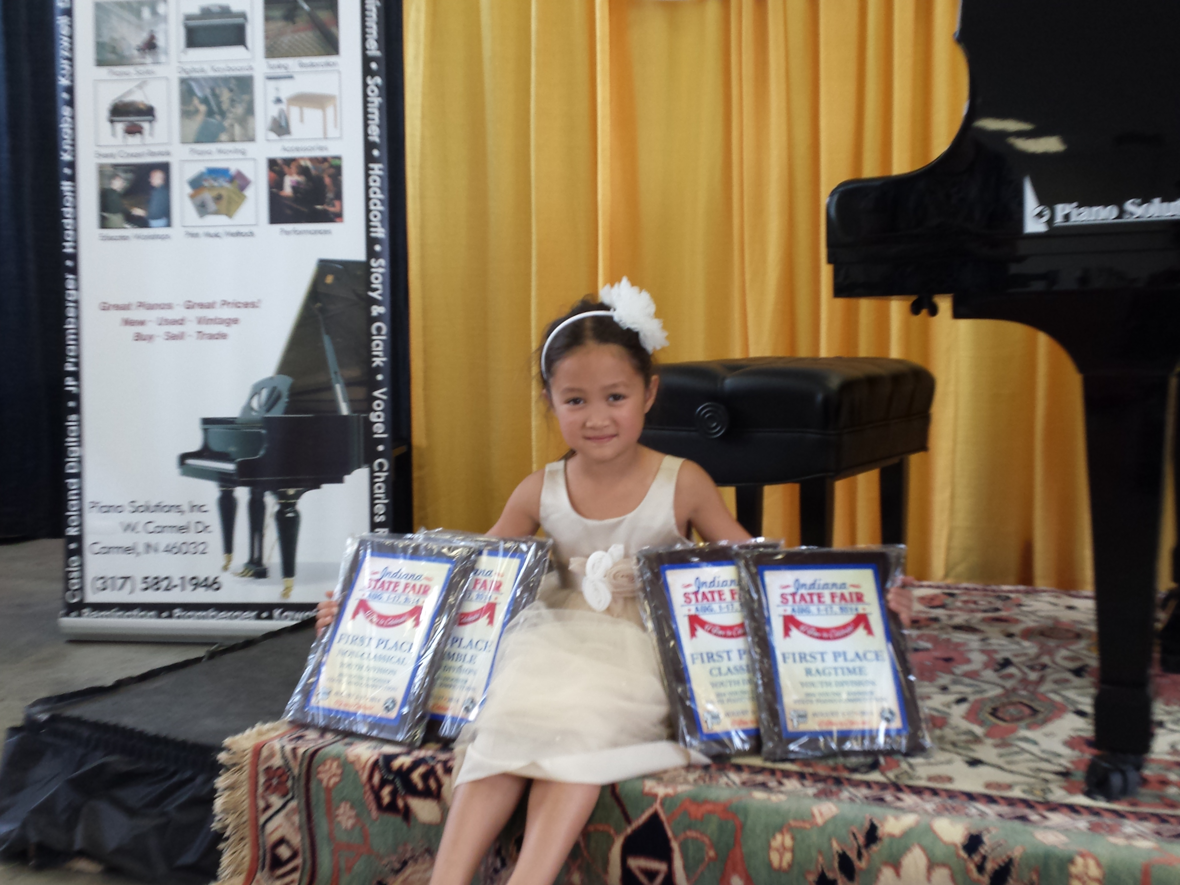 My daughter Jessica (6) of Carmel just placed first in 4 different categories at the 2014 State Fair piano competition. Would it be possible to have this printed?  I could provide more information if needed.
