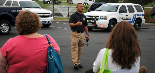 Westfield police officer Song Kang explains the importance of the K-9 teams during a demonstration.