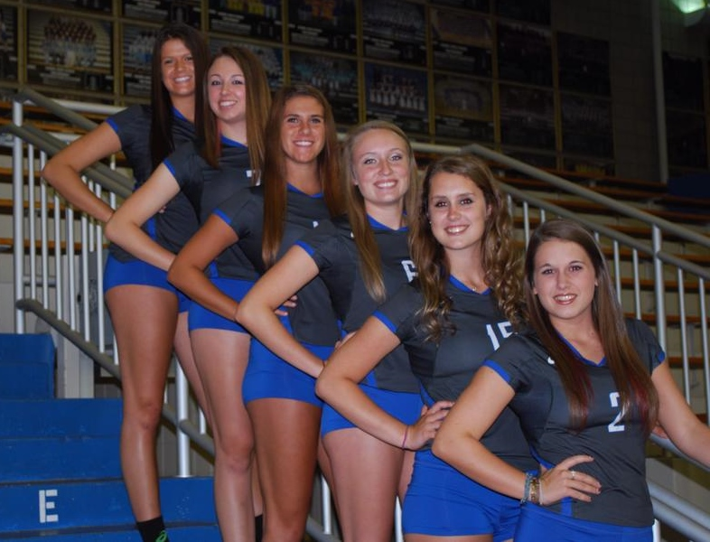 The 6 senior volleyball players in the picture from top down are: Carly Skjodt, McKenzie Kiesle, Lauren Gold, Megan Flatley, MacKenzie Cole and JamieScherb.