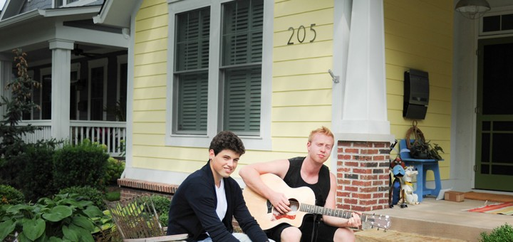 The duo Ty and Isaac rehearse for Porchfest. (Photo by Allison Mayer)