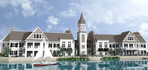 The proposed Shoppes at Grand Park Village will have a Cape Cod-featured, two-story restaurant and commercial space with a signature clock tower. (Submitted rendering)
