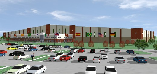 New textured and colored columns and lights were added to indoor soccer facility plans at Grand Park after negative feedback was given on the original design. (Submitted rendering)