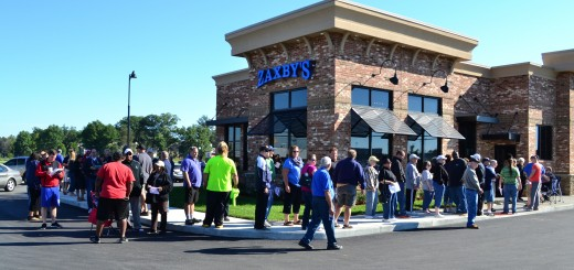 A crowd gathered outside Zaxby's at Fishers Marketplace Sept. 8 for the grand opening and an offer of free meals for a year for the first 100 customers. (Photo by John Cinnamon)