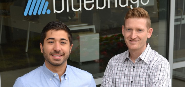 "Santiago Jaramillo (left) and Adam Weber, partners at Bluebridge Digital, a Fishers tech company, which was the first busi- ness to ""launch"" from Launch Fishers into its own offices at the Forum Credit Union. (Photo by John Cinnamon)"